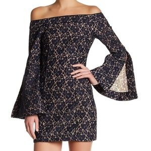Keepsake- Off-Shoulder Lace Sheath Dress